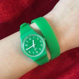 Ladies Swatch Green Wrap Watch
